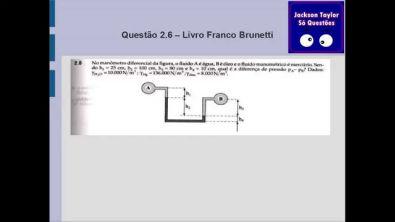 Questão 2.6 Mec. fluidos - Estática - Manômetro