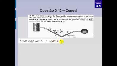Questão 4.43 Çengel - Manômetro - Mecânica dos fluidos - Estática