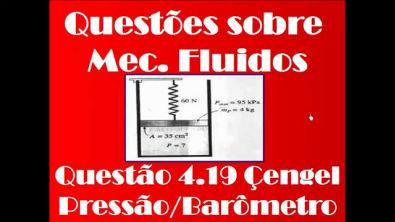 Questão-Mecânica dos fluidos 3.19 Çengel - Pressão-Estatica dos fluidos