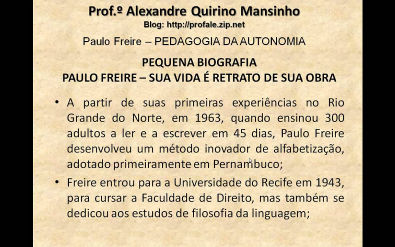 CONHECIMENTOS PEDAGÓGICOS - PEDAGOGIA DA AUTONOMIA - Paulo Freire - parte 1/3