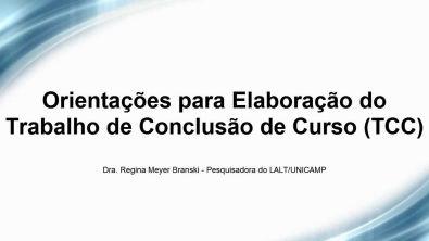 Orientações para Elaboração do Trabalho Conclusão de Curso - TCC FEC 600 LALT