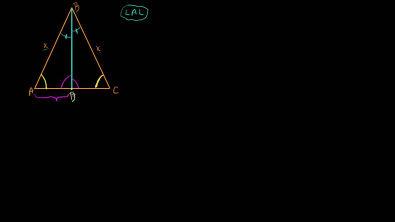Teorema: num triângulo isósceles, a bissetriz relativa à base coincide com a mediana e a altura