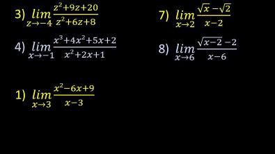 Cálculo 1 - Limites - Exercícios Exemplos resolvidos indeterminação 0/0 [parte 1]