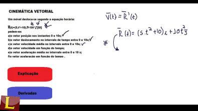 Exercícios de Cinematica Vetorial  física