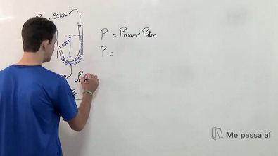 Medição da pressão com manômetro de coluna com um fluido - Teoria