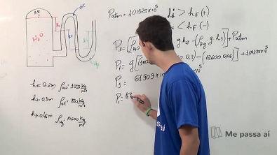 Medição da pressão com manômetro de coluna com vários fluidos - Teoria