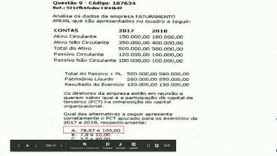 Capital de giro e análise financeira- Prova da Universidade Unopar , questões 9 e 10 -2018