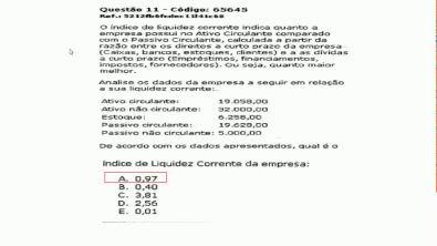 Capital de giro e análise financeira- Prova da Universidade Unopar , questões 11 e 12 -2018