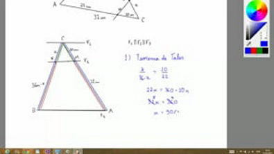 Exercício - Teorema de Tales e Semelhança de Triângulos - No triângulo ABC o lado AC mede 32 cm