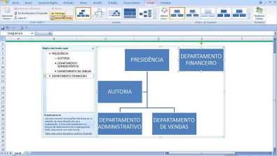 Desenhar um ORGANOGRAMA de ESTRUTURA ORGANIZACIONAL no software do computador