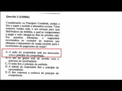 CONTABILIDADE- Prova corrigida da Unopar -questões 1 a 6- 2019- parte 1