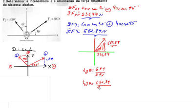 Exercicio 3 - Força Resultante - Diagrama de corpo livre - Estática