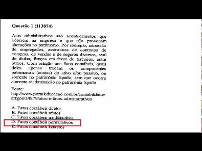 Contabilidade- Prova da Unopar - 2019 #PARTE1 #prova8