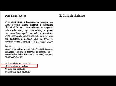 Contabilidade- Prova da Unopar - 2019 #PARTE2 #prova8