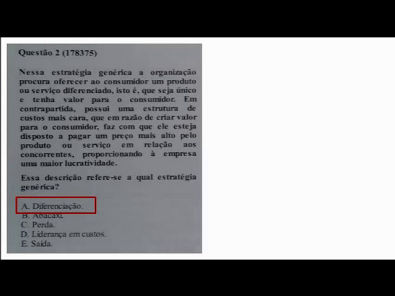 Estrategia empresarial - prova Unopar- 2019 #prova8 #parte1