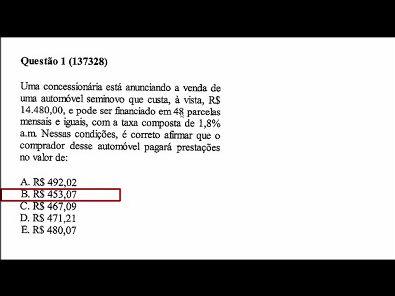Matematica financeira- prova Unopar- 2019 #prova4 #parte1