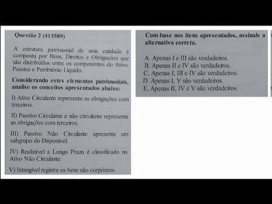 Estrutura das Demonstrações - prova Unopar- 2019 #prova4 #parte1