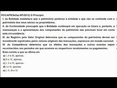 Contabilidade Pública: Questões de concurso público - tema: Princípios da contabilidade- #parte1