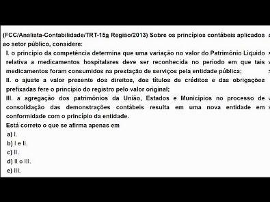 Contabilidade Pública: Questões de concurso público - tema: Princípios da contabilidade- #parte2
