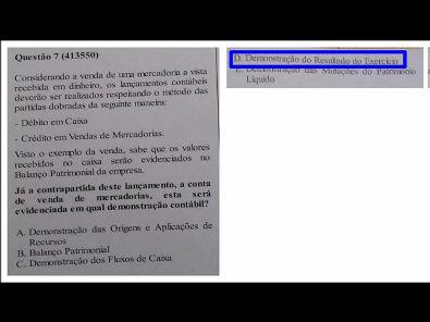 Estrutura das Demonstrações - prova Unopar- 2019 #prova5 #parte2