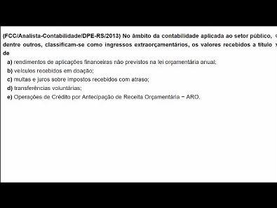Contabilidade Pública: Questões de concurso público - tema: Receita - #parte2