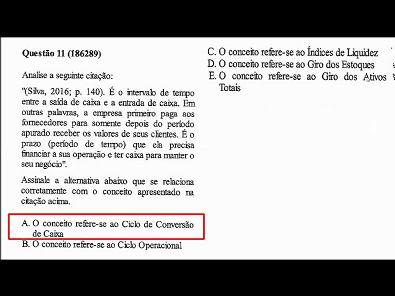 CAPITAL DE GIRO E ANÁLISE FINANCEIRA - PROVA UNOPAR - #PROVA2 #PARTE3