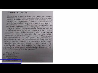Comportamento Organizacional- prova Unopar- 2019 #prova6 #parte1