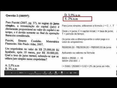 Matematica financeira- prova Unopar- 2019 #prova5 #parte1