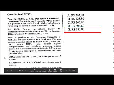 Matematica financeira- prova Unopar- 2019 #prova5 #parte4