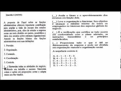 Teoria da Administração- Prova da Unopar- 2019 - #prova2 #parte1