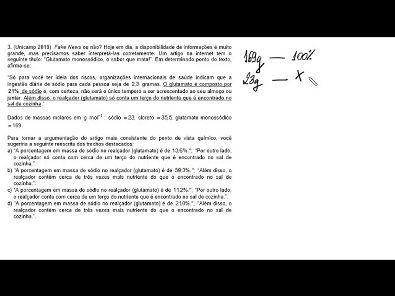Resolução UNICAMP 2019