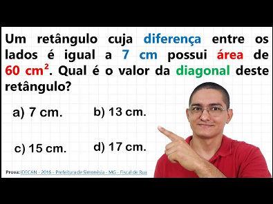 QUESTÃO DE CONCURSO SOBRE A DIAGONAL DE UM RETÂNGULO