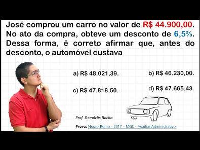 PORCENTAGEM - QUESTÃO DE CONCURSO ENVOLVENDO DESCONTO