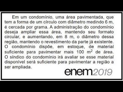 QUESTÃO SOBRE COROA CIRCULAR - ENEM 2019 - #146