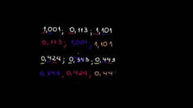 Ordenação e comparação de números decimais