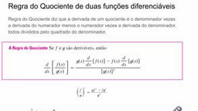 DERIVADAS REGRA DO QUOCIENTE DE DUAS FUNÇÕES