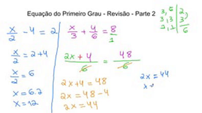 Equação de 1 grau - Revisão - Parte 2