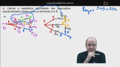 Correção do exercício 1) IV dos testes de treinamento Cálculo da resistência equivalente de um circuito misto