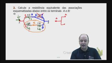 Correção do exercício 2) a) dos testes de treinamento Cálculo da resistência equivalente de um circuito misto