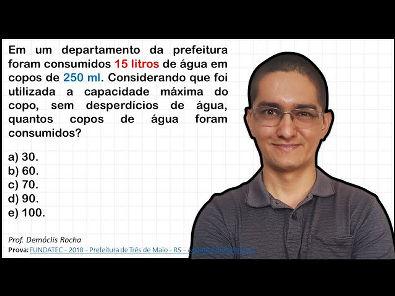 QUESTÃO DE CONCURSO SOBRE REGRA DE TRÊS SIMPLES E UNIDADES DE VOLUME