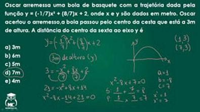 Introdução ao cálculo - Função quadrática 1- Questão 8