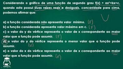 Função quadrática 2 - Introdução ao cálculo - Questão 01