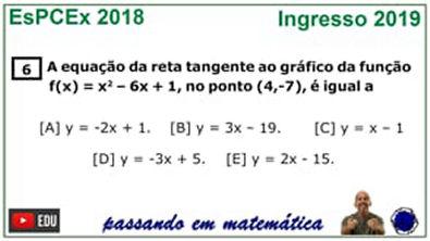 Reta tangente a parábola - Concurso da EsPCEx 2019
