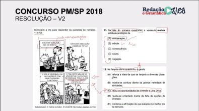 PROVA PM: RESOLUÇÃO COMENTADA - Parte 3 - PM/SP 2018 - Profa Pamba
