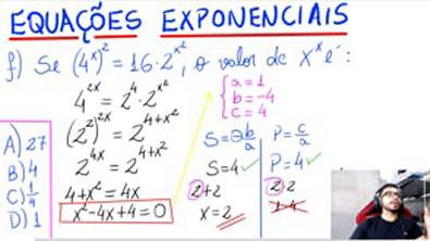 EQUAÇÕES EXPONENCIAIS (1 exemplo + 1 questão de Vestibular)✍