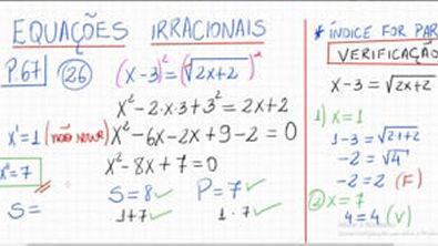 EQUAÇÃO IRRACIONAL (Exemplo)✍