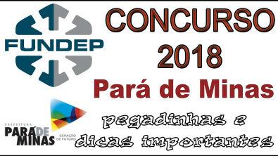 Prefeitura de Pará de Minas - FUNDEP 2018 - questões comentadas e corrigidas