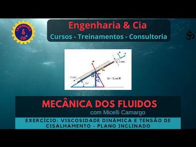 #MECFLU Exercício 3: Viscosidade + Plano Inclinado | Mecânica dos Fluidos | Por Micelli Camargo