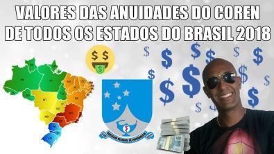 VALORES DAS ANUIDADES DO COREN 2018 DE TODOS OS ESTADOS