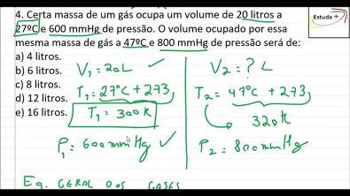 Como calcular o volume com a Equação geral dos gases